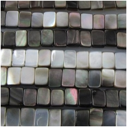Black lip shell double drilled rectangle beads (N) Approximate size range 4.2 x 6.8mm to 5.2 x 7.3mm Picture shows both sides 16 inch