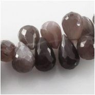 4 Moonstone AAchocolate high schiller faceted tear drop briolette gemstone beads (N) Approximate size range 7 x 10mm to 8 x 12mm