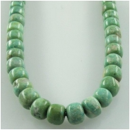 Turquoise Campitos green pueblo drum gemstone beads (S) Approximate size 5mm 18 inch