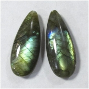 2 Labradorite AAA long tear drop gemstone beads (N) Approximate size 10 x 25mm top drilled for mounting post
