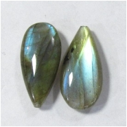 2 Labradorite AAA long tear drop gemstone beads (N) Approximate size 8 x 16mm top drilled for mounting post