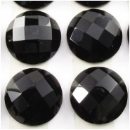 2 Black Onyx rose cut round loose cut cabochon gemstones (DH) Approximate size 15mm