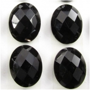 3 Black Onyx rose cut oval loose cut cabochon gemstones (DH) Approximate size 9 x 12mm