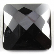 1 Black Onyx rose cut square cabochon gemstone (DH) Approximate size 25mm square