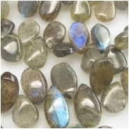 Labradorite plain drop briolette gemstone beads (N) Approximate size range 6.3 x 8.5mm to 6.7 x 12mm 8 inch