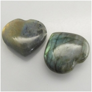 1 Labradorite puff heart not drilled gemstone (N) Approximate size 25 x 27mm to 28 x 32mm