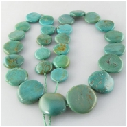 Turquoise Maan Shaan graduated coin gemstone beads (S) Approximate size 10 to at least 15mm 15.5 inch