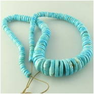 Turquoise Sleeping Beauty graduated disc rondelle Zachery process gemstone beads Approximate size 5.1 to 16mm 18 inch