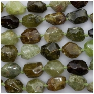 Green Garnet Multi Color Faceted Nugget Gemstone Beads (N) Approximate size 16.59 x 12.62 x 10.03mm to 20.35 x 14.22 x 8.33mm, 8 to 8.5 inches