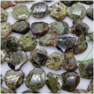 Green Garnet Faceted Natural Slabs Gemstone Beads (N) Approximate size 17.84 x 24.69mm to 30.65 x 29.39mm, 7 to 8 inches