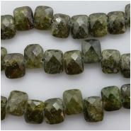 6 Green Garnet Faceted Rectangle Briolette Gemstone Bead (N) Approximate size 7.21 to 7.35mm x 9.03 to 9.43mm