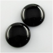 2 Black Onyx A round gemstone cabochons (DH) Approximate size 24mm
