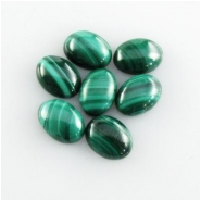 7 Malachite A oval cabochon loose cut gemstones (N) Approximate size 4 x 6mm
