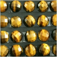 4 Tiger Eye AAA rose cut round loose cut cabochon gemstones (N) Approximate size 12mm