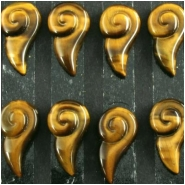 2 Tiger Eye AAA long spiral cabochon gemstones (N) Approximate size 13 x 23mm