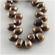 Pearls brown top side drilled potato beads (D) Approximate size 7 x 8.5mm to 7.5 x 10.5mm 15.5 inch