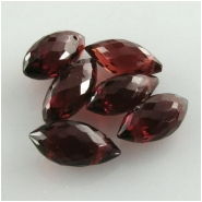 2 Garnet AA puff marquise briolette gemstone beads (N) Approximate size range 3.8 x 8mm to 4.3 x 9mm top side drilled.