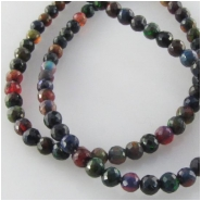 Black Ethiopian opal graduated faceted round gemstone beads (E)  Approximate size 2.5 to 4.5mm diameter 17 inch