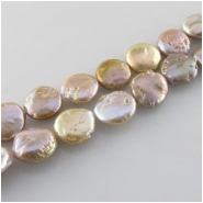 Pearls champagne coin beads (D) Approximate size 11 to 13mm 16 inch