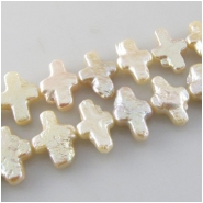 Pearls champagne cross beads (D) Approximate size 9 x 13mm to 9 x 15mm 16 inch