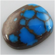 1 Turquoise Persian cabochon gemstone (S) Approximate size 17 x 21.4 x 7.6mm deep Backed.