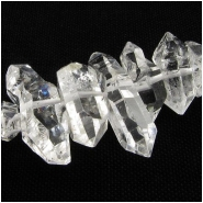 3 Quartz double terminated center drilled Herkimer style gemstone beads (N) Approximate size range 4.2 x 9.9mm to 7 x 20mm