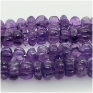 Amethyst Carved Rondelle Gemstone Bead XS (N) Approximate size 5.91 to 7.69mm, 6.5 to 7 inches