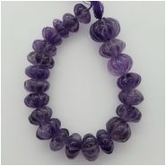 Amethyst Carved Graduated Rondelle Gemstone Bead L-XXL (N) Approximate size 10.81 to 15.84mm, 6.75 inches