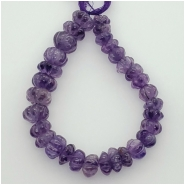 Amethyst Carved Graduated Rondelle Gemstone Bead M-L (N) Approximate size 7.89 to 11.59mm, 6.9 inches