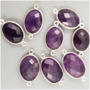 1 Amethyst faceted bezel set sterling silver connector gemstone bead (H) Approximate size 23.50 to 25.41mm x 12.95 to 14.06mm