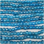 Neon Apatite Faceted Semi Round Gemstone Beads (N) Approximate size 3.8 x 4.5mm, 6.25 inches