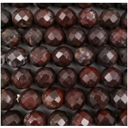 Chinese Blood Jasper Faceted Round Gemstone Bead (N) Approximate size 11.65 to 12.22mm, 7.5 inches