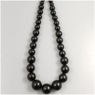 Black Onyx Graduated Round Gemstone Beads (DH) Approximate size 8mm to 16.25mm, 16 inches