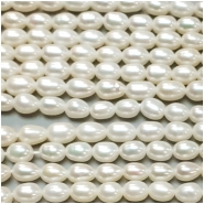 Pearl Freshwater White Rice Bead (N) Approximate size 4.09 to 6.89mm 16 to 16.75 inches