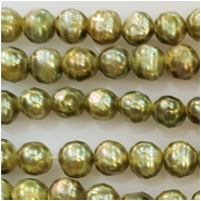 Pearl light green faceted semi round bead (D) Approximate size 4.09 to 6.06mm 16 inches