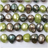 Pearl multi color baroque bead (D) Approximate size 8.7 to 11.24mm x 7.55 to 9.39mm 16 inches