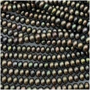 Pearl Button Peacock Green Bead (D) Approximate size 3.04 to 4.22mm x 4.98 to 5.22mm, 16 inches