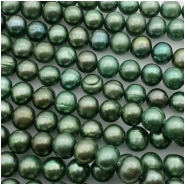 Pearl Oval Emerald Green Bead (D) Approximate size 8.34 to 8.77mm x 9.16 to 9.84mm, 16 inches