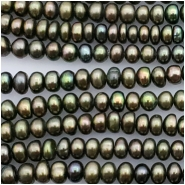 Pearl Button Peacock Green Bead (D) Approximate size 2.28 to 3.36mm x 3.97 to 4.04mm, 16 inches