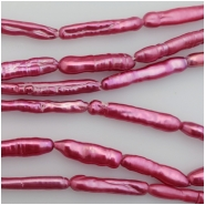 Pearls Fushia Ringed Stick (D) Approximate size 4.20 to 8.19mm x 16.79 to 27.79mm, 15 inches