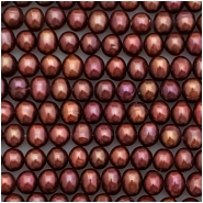 Pearl Iridescent Maroon Oval Beads (D) Approximate size 5.35 to 6.07mm x 5.00 to 5.36mm, 16 inches