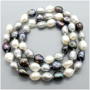Pearl Fresh Water Oval Semi Baroque Bead (D) Approximate size 8.7  to 11.76mm x 6.93 to 9.45mm, 22.25 inches