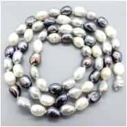 Pearl Fresh Water Oval Semi Baroque Bead (D) Approximate size 8.5  to 11.76mm x 6.93 to 9.45mm, 28.5 inches