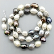 Pearl Fresh Water Oval Semi Baroque Bead (D) Approximate size 8.5  to 11.76mm x 6.92 to 9.45mm, 16.5 inches