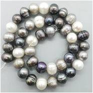 Pearl Fresh Water Oval Ringed Bead (D) Approximate size 9.34 to 10.25mm x 10.71 to 12.18mm, 16.75 inches