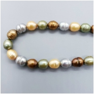 Pearl Fresh Water Oval Ringed Bead (D) Approximate size 8.78 to 9.54mm x 7.67 to 8.26mm, 16.25 inches