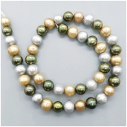 Pearl Fresh Water Oval Ringed Bead (D) Approximate size 8.49 to 9.11mm x 9.12 to 9.88mm, 16 inches