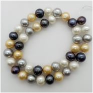 Pearl Fresh Water Oval Bead (D) Approximate size 9.01 to 10.67mm x 9.83 to 10.93mm, 16.5 inches