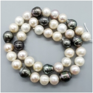 Pearl Fresh Water Near Round and Near Baroque Bead (D) Approximate size 8.75 to 9.82mm, 16.25 inches