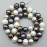 Pearl Fresh Water Oval Semi Baroque Bead (D) Approximate size 8.65 to 10.04mm x 9.56 to 10.71mm, 15.75inches